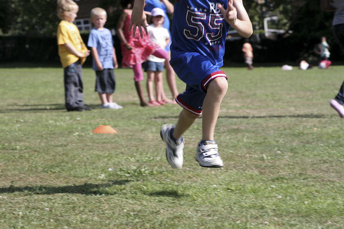 Active kid at recess