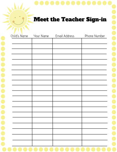 Weather Meet the Teacher Freebie