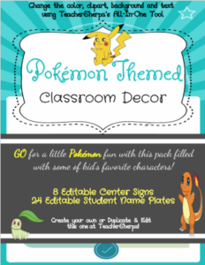 Pokemon themed decor