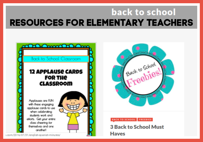 Back to school resources for elementary teachers.