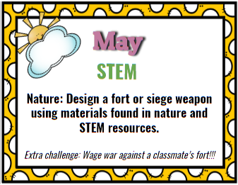 STEM Resource. May Themed. Nature Themed. Design a fort with materials found in nature.