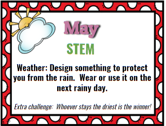 STEM Resource. May Themed. Weather Themed. Design something to protect you from the rain.