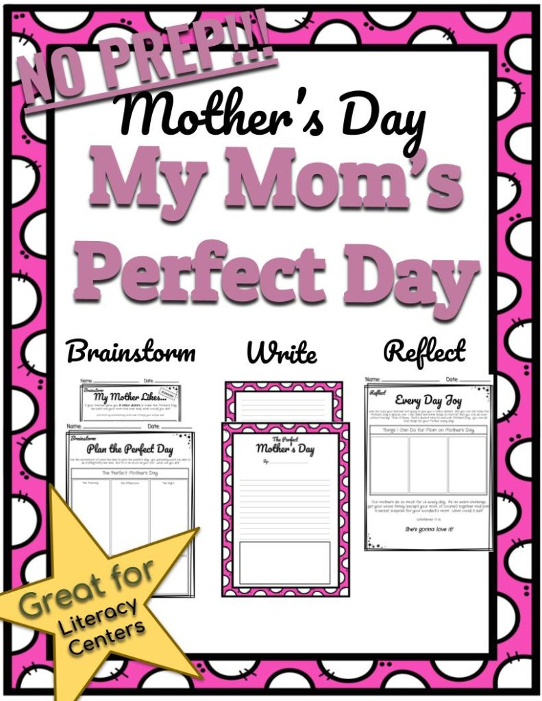 My Mom's Perfect Day Mother's Day Literacy Center - If given $1,000,000 what would students do for their mother on Mother's Day?